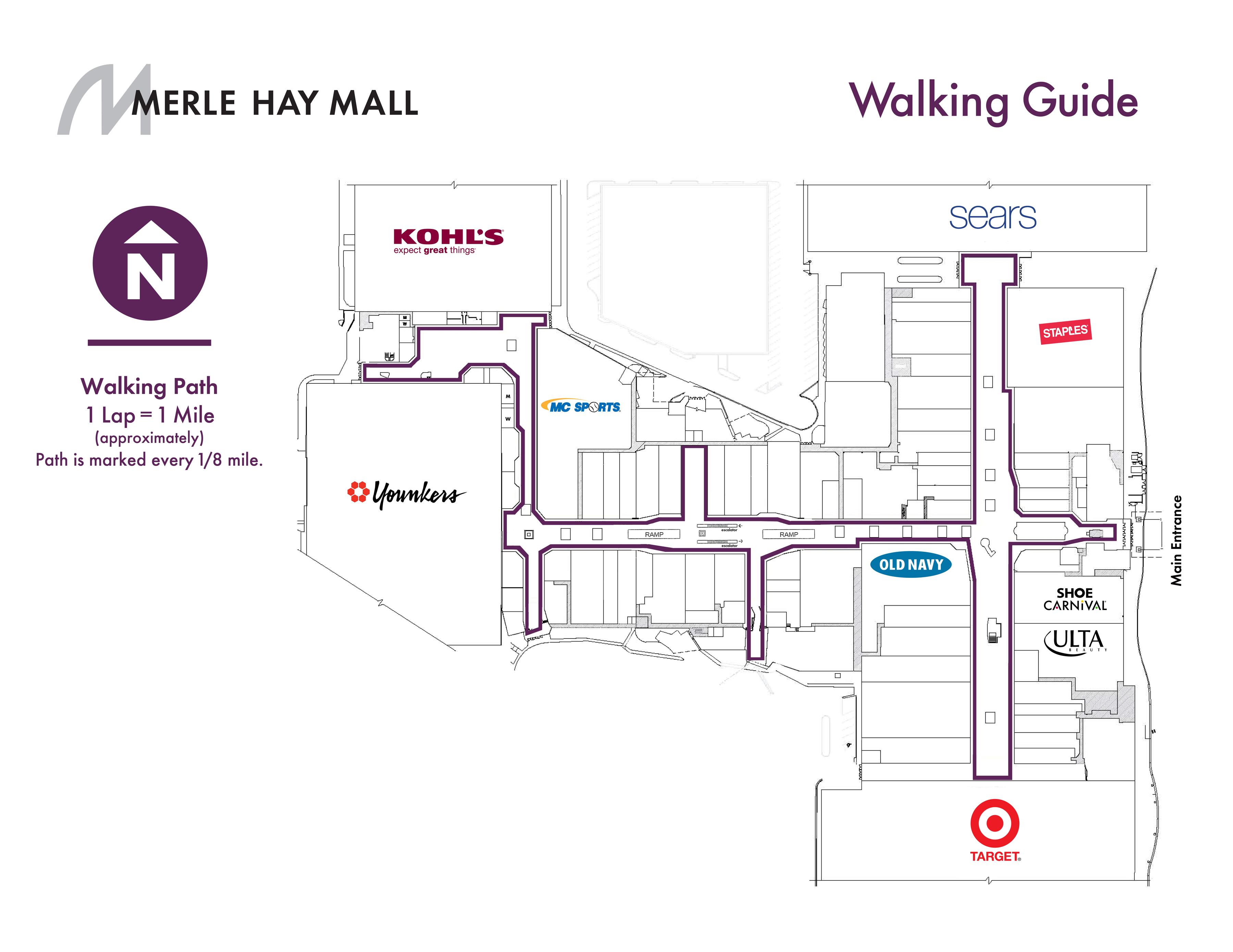 walking guide  merle hay mall - mall walker map